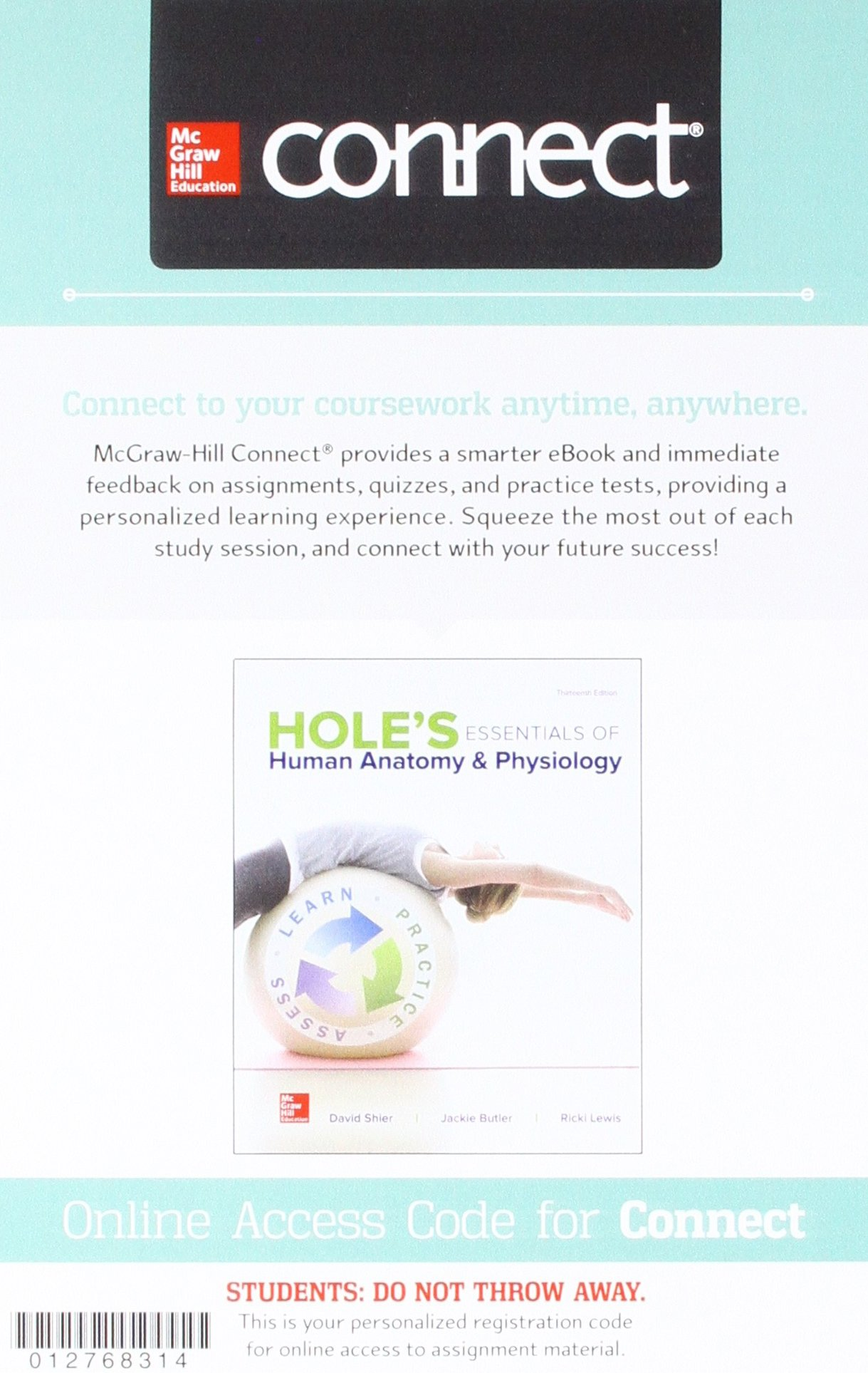 Gen Combo Holes Essentials Human Anatomy & Physiology; Connect Apr ...