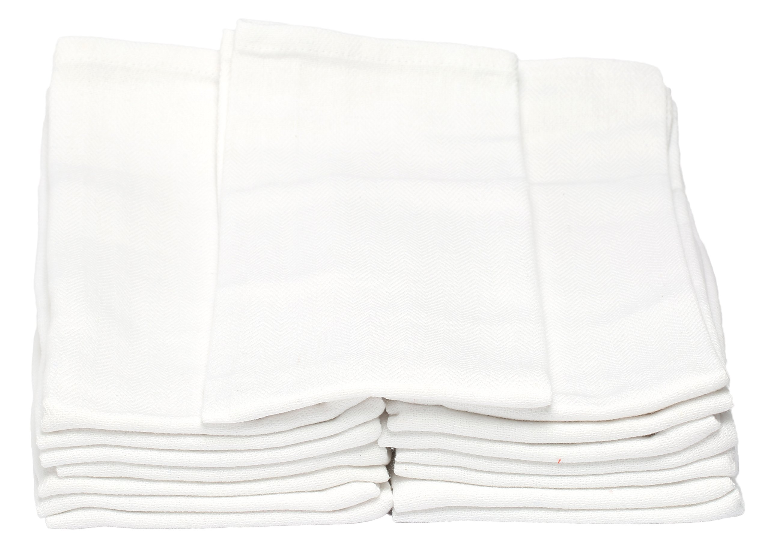 Melange 180 PACK Classic Kitchen Towels, 100% Natural Cotton, 14 x 25, Commercial Restaurant Grade, Herringbone Weave Dish Cloth, Absorbent and Lint-Free, Machine Washable, Solid White
