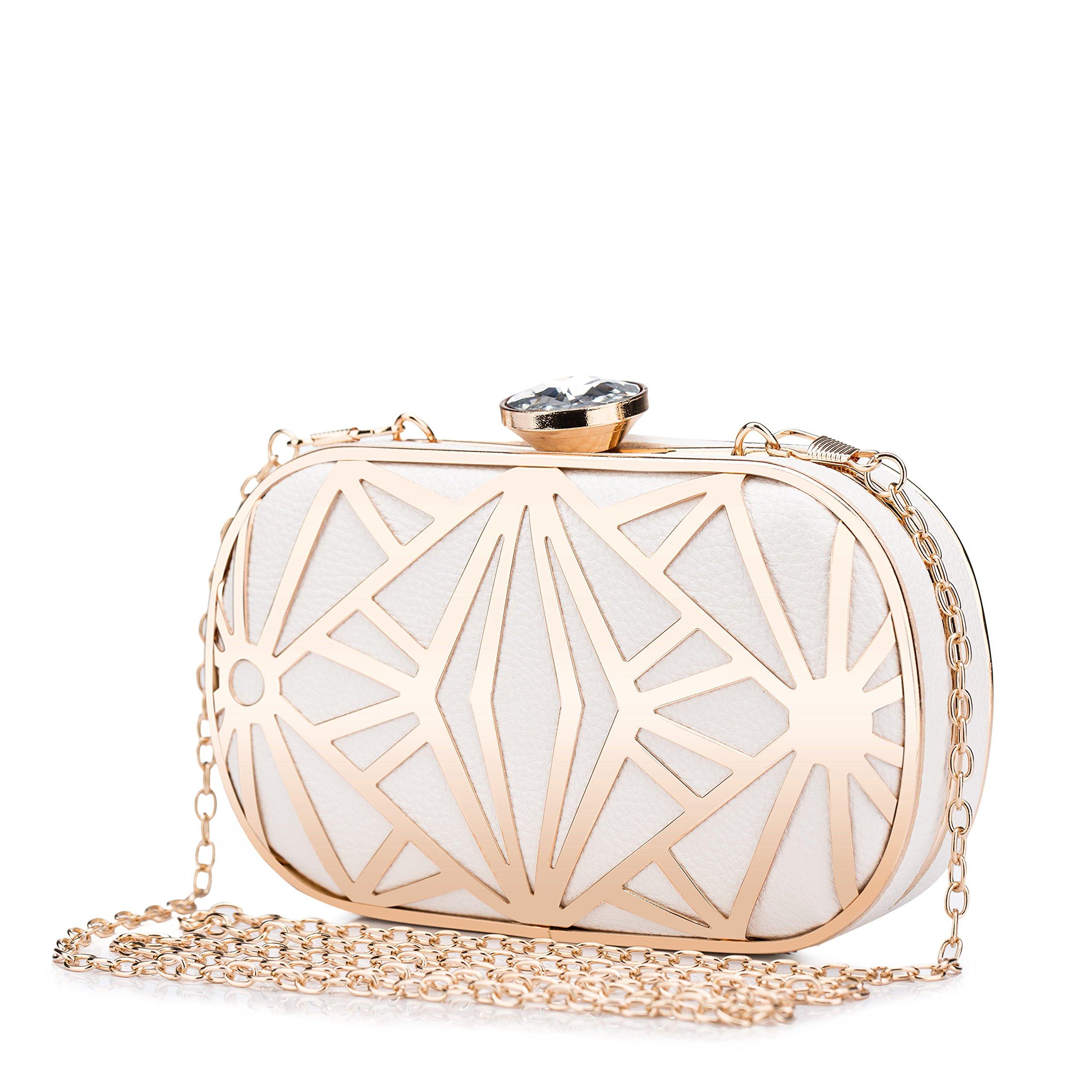 Clocolor Women Evening Bags Exquisite Leather Handbag Metal Hollow Designer Wedding Party Clutch Purse