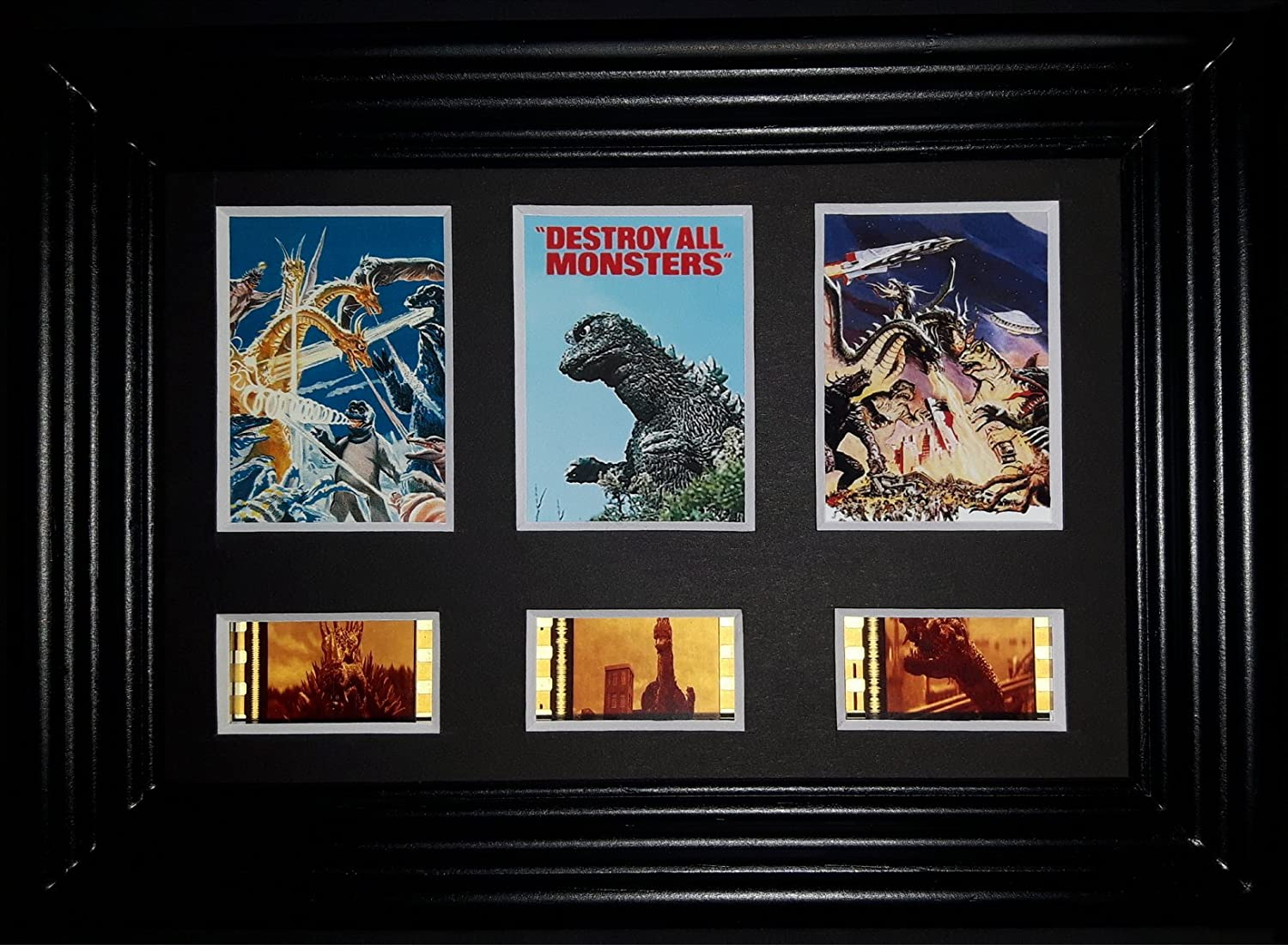 DESTROY ALL MONSTERS GODZILLA Framed Trio 3 Film Cell Display Movie Memorabilia