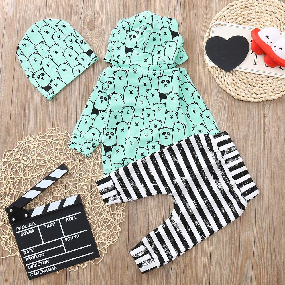 ❤ Conjunto para bebé con Estampado de Oso, Invierno otoño Infant Baby Boys Girls Manga Larga Animal Print Tops + Pants + Hat Outfits Clothes Absolute: ...