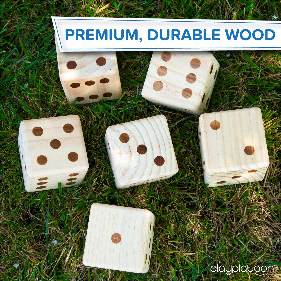 Giant Wooden Yard Dice Outdoor Game Play Platoon Lawn Dice with Scoreboard