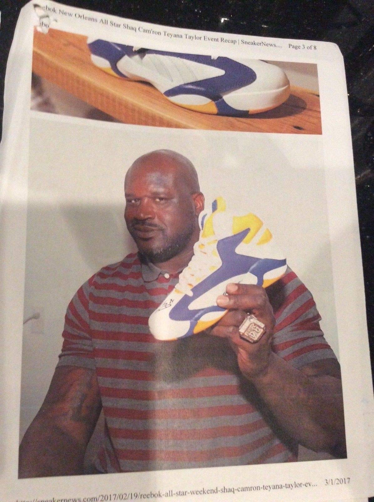 Shaquille Shaq O Neil Dual Autographed Signed Size 22 Shaq Attaq X Politics Shoes JSA Authentic