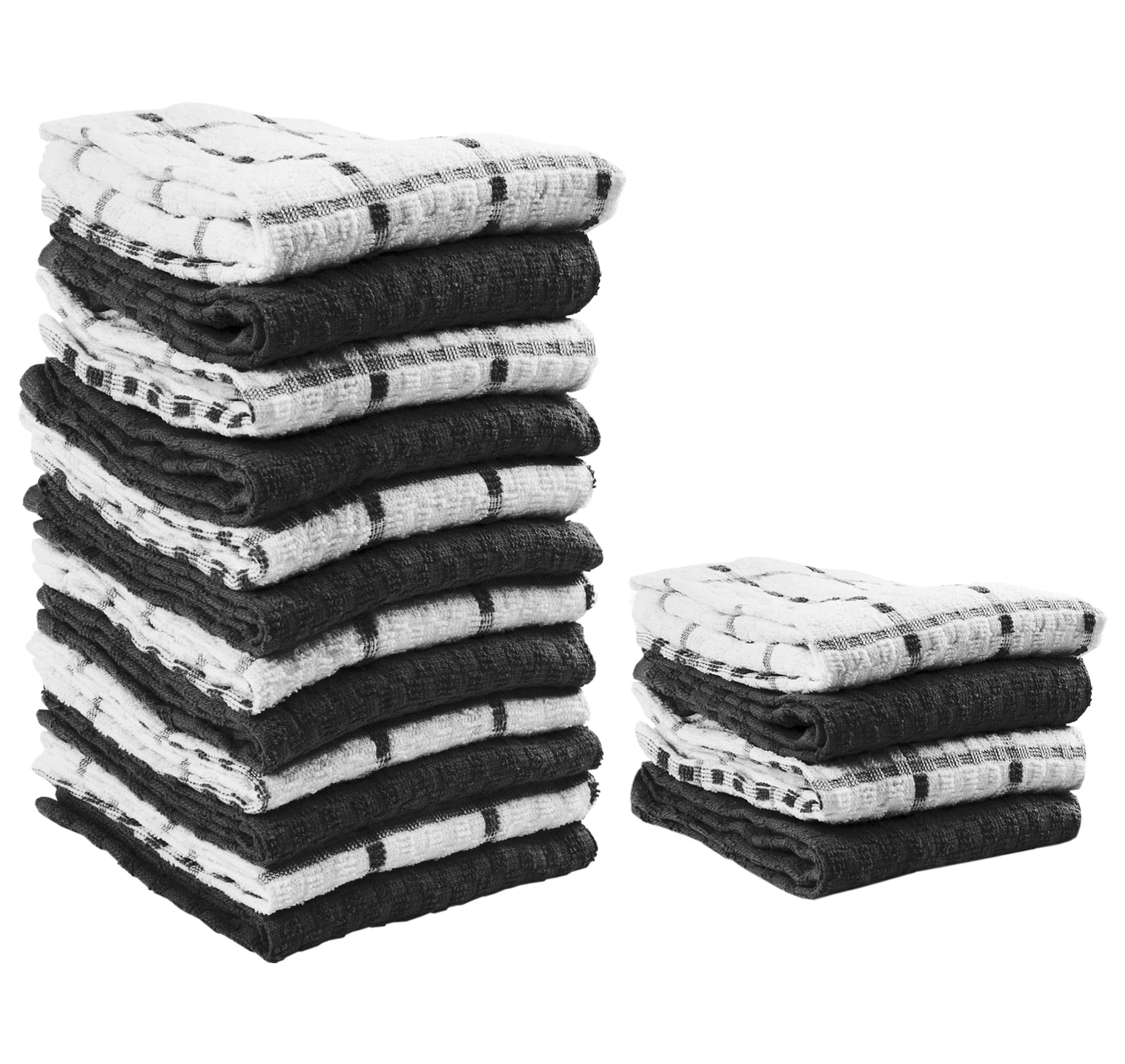 Value Basics Kitchen Towel Set, 15'' x 25'', 16-Piece Dobby Weave Kitchen Dish Towel Value Pack (12 standard set + 4 towels FREE)