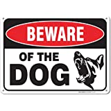 Beware Of Dog Sign By SigoSigns- Large 7 x 10 Inch Aluminum Warning Dog Sign - USA Made Of Rust Free Aluminum-UV Printed With Professional Graphics-Easy To Mount Indoors & Outdoors