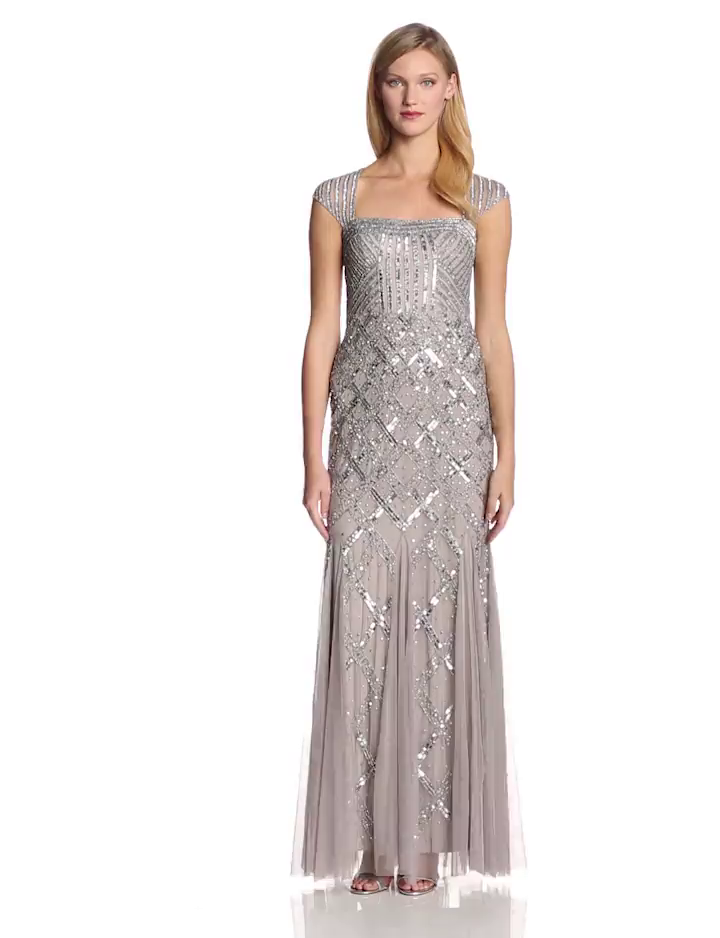 Amazon Adrianna Papell Womens Cap Sleeve Beaded Gown Clothing