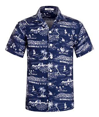 c326fe95 Men's Hawaiian Shirt Short Sleeve Aloha Shirt Beach Party Flower Shirt  Holiday Print Casual Shirts Hawaii