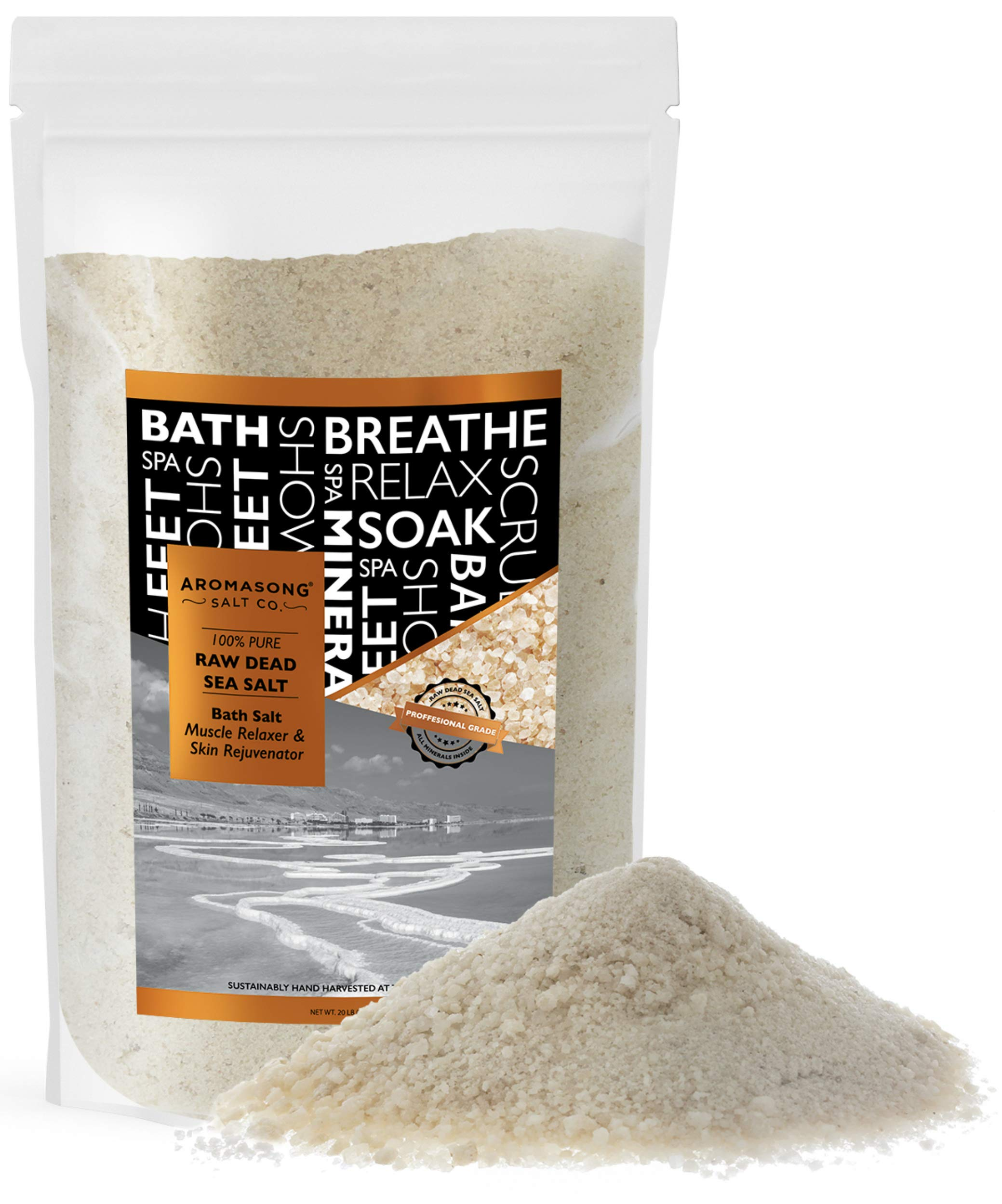 19 lbs Raw DEAD SEA SALT Not cleaned, still Contains all dead sea minerals Including Dead sea Mud, Fine Medium Grain Large resealable Bulk pack, by Aromasong
