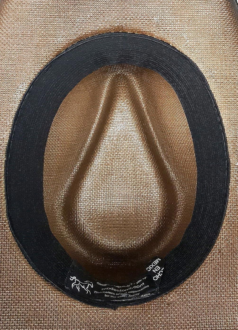 4f7035ac032ce Modestone Straw Cowboy Hat Metal Texas Sheriff Star Concho   Chain Links  Hatband  Amazon.ca  Clothing   Accessories