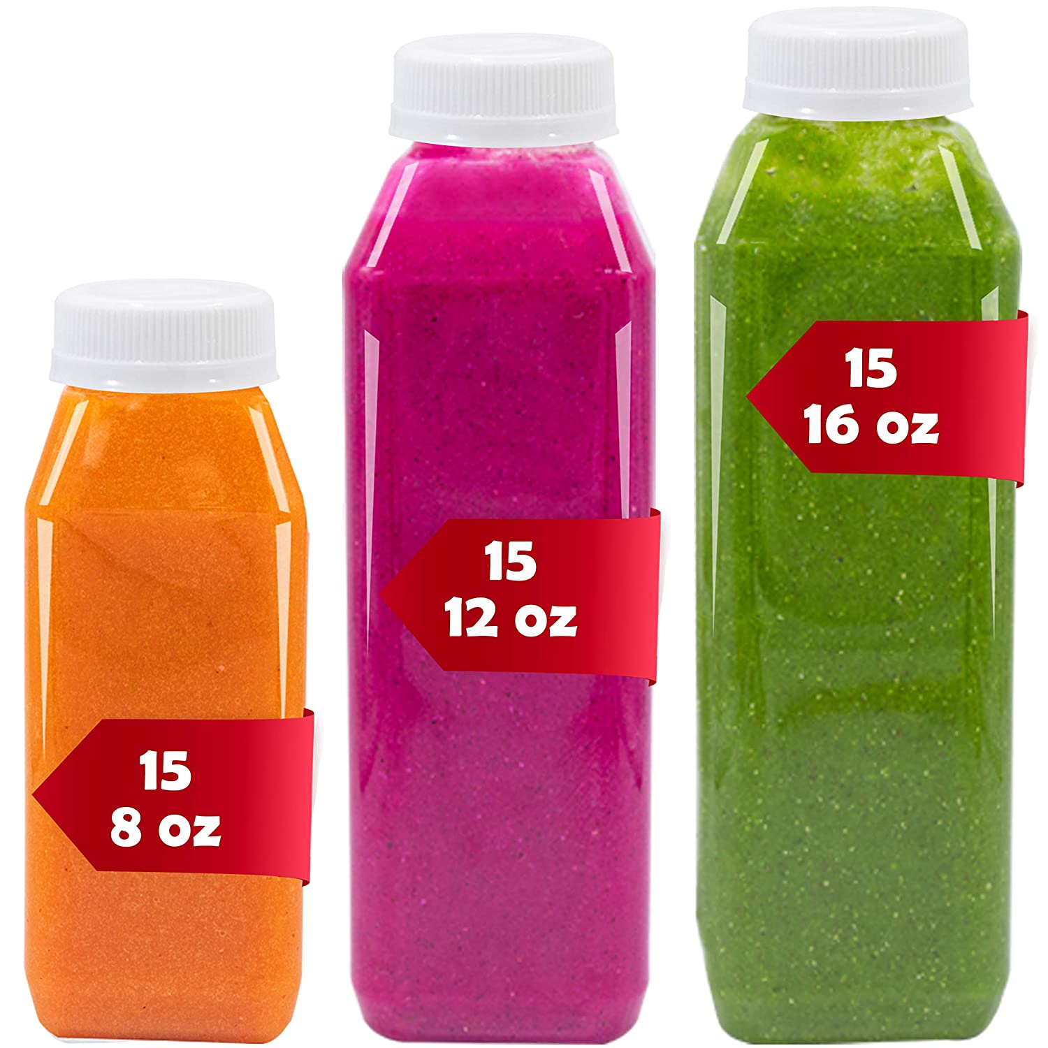 45 Pack of Empty Juice Bottles, Plastic Bottles with caps,15 of 8 oz, 15 of 12 oz, 15 of 16 oz