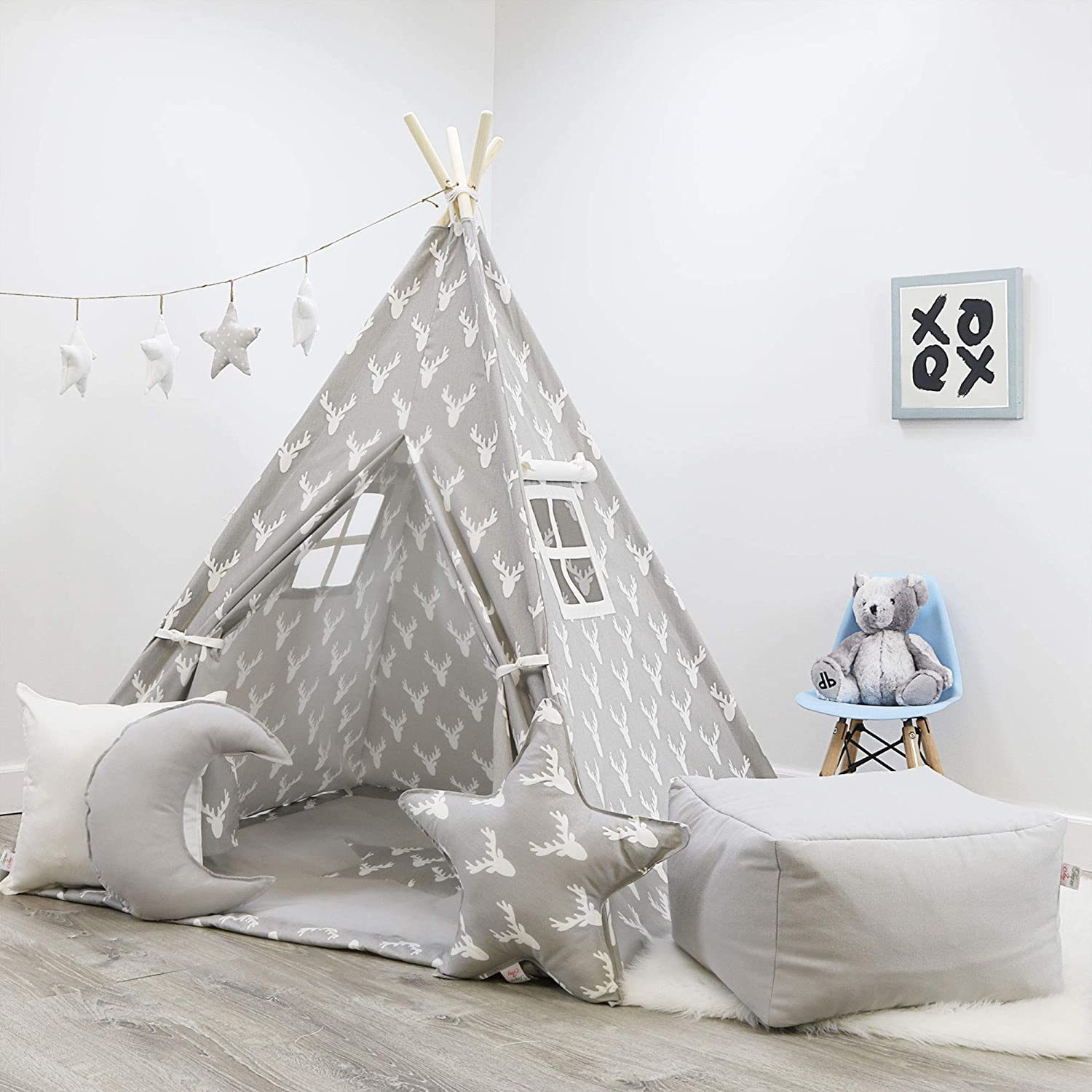 Amazon.com: Kids Teepee Tent Set, Gray W/ Reindeer Pattern Teepee Set,  Handcrafted Teepee for Kids, Comes with 2 Windows, a Mat, & 3 Pillows.:  Handmade