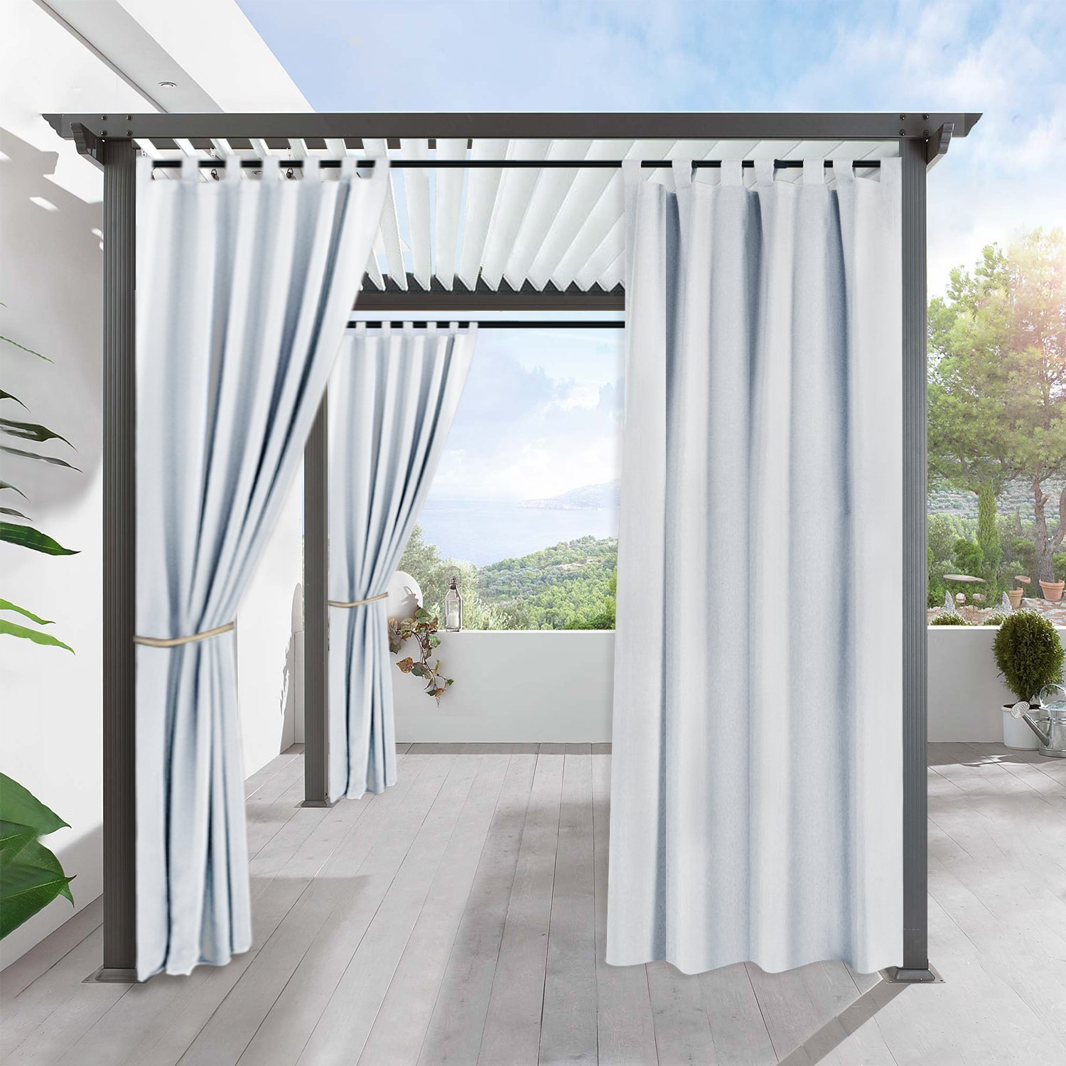 Outdoor Indoor Patio Curtain Drapes - RYB HOME Mildew Resistant Water Repellent Reduce Heat Loss Tab Top Blackout Curtains for Porch, 1 Piece, W 52 x L 84 In, Greyish White by RYB HOME (Image #3)