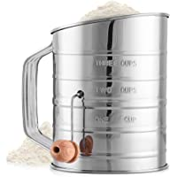 Zulay 3 Cup Stainless Steel Flour Sifter - Fine Mesh Rotary Hand Crank Flour Sifter with Agitator Wire Loop For Baking…