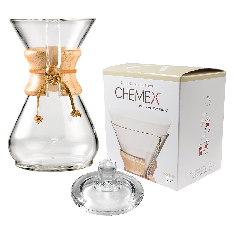 Chemex con cuello de madera y lazo cristal 40 oz cafetera ...