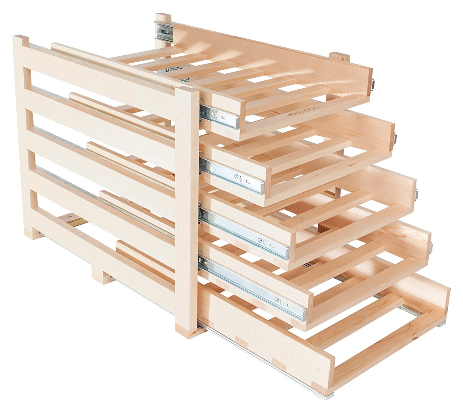 Wine Logic WL-MAPLE30 In-Cabinet Sliding Tray Wine Rack, 30-Bottle, Solid Maple Wood, Unstained with Clear Satin Lacquer Finish