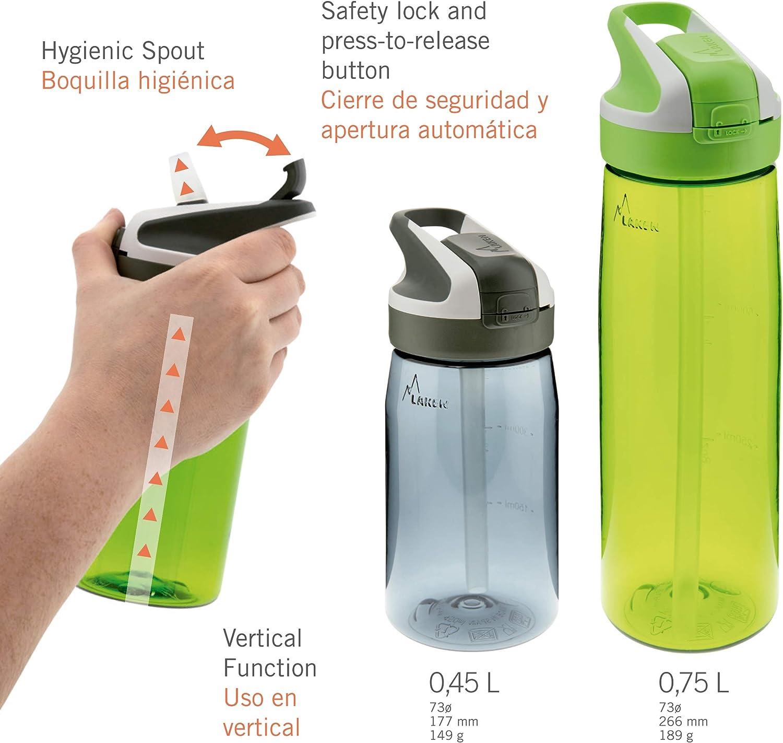 Mosquet/ón Incluido Modelo PracticDomus Botella Reutilizable Infantil Laken de Tritan con Tap/ón Summit de Apertura Autom/ática y Cierre de Bloqueo Capacidad 0.45L