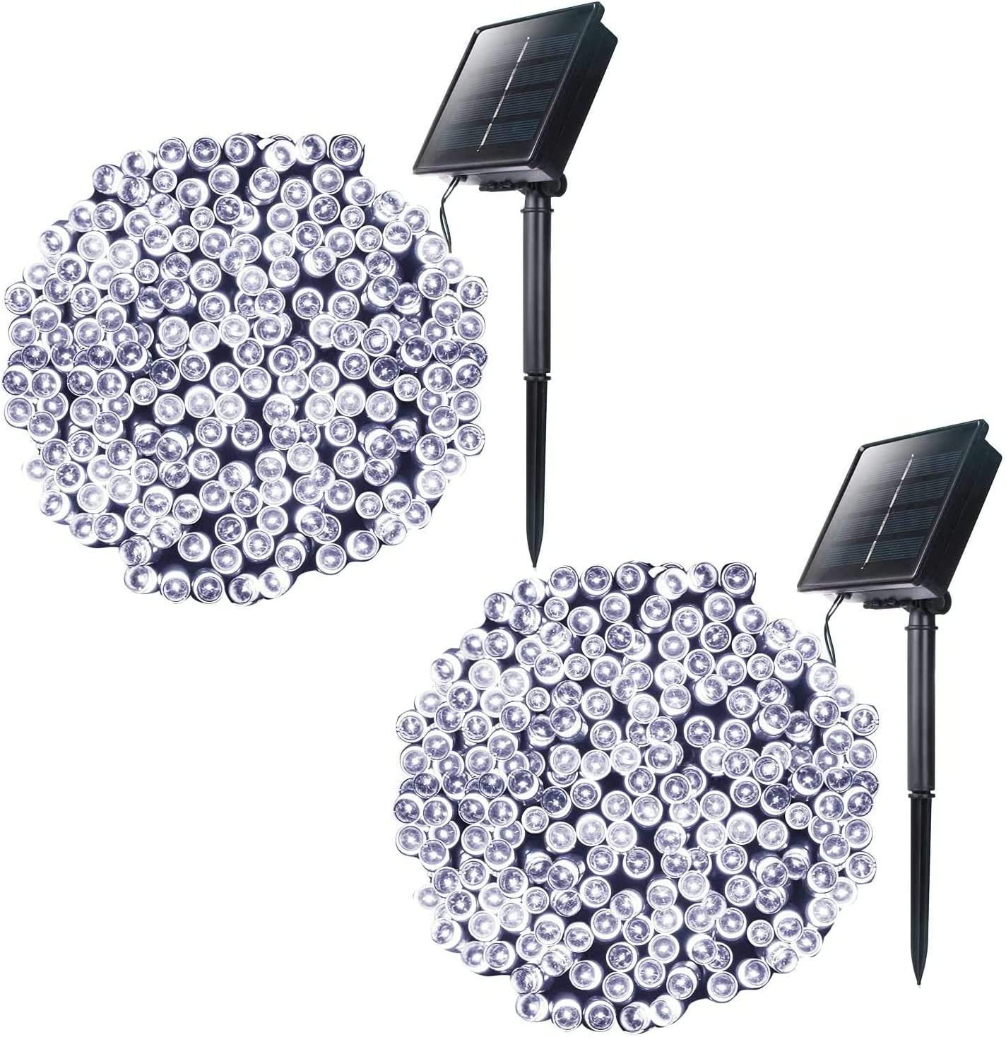 LED Outdoor Solar Christmas Lights - 72 Feet 200LED 8 Modes Waterproof Solar Powered Lights for Xmas Indoor Bedroom Outside Patio Gazebo Yard Balcony Wedding Party Tree Decor, Pure White, 2 Pack
