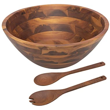 Acacia Wooden Salad Bowl Set - 12.5 Inches Hardwood with Servers Set Big Salad Bowls 3-Piece Set by AIDEA