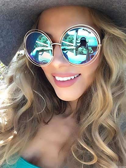 eff31f5e915ff Amazon.com  KEVLAD XXL Halo ROXANNE Oversized Round Coachella Mirrored  Sunglasses for Women - Bohemian Style Golden Double Wire Frame with  Turquoise Lenses  ...