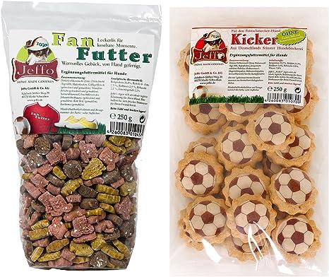 Jeffo Fútbol Galletas de Juego para Perros, fanfutter y Bolsa de futbolín, de Juego (2 x 250 g): Amazon.es: Productos para mascotas