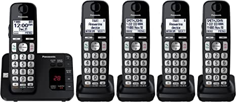 Black Panasonic KXTGE445 DECT 6.0 Corldess Phone System w// 5 Handsets Included