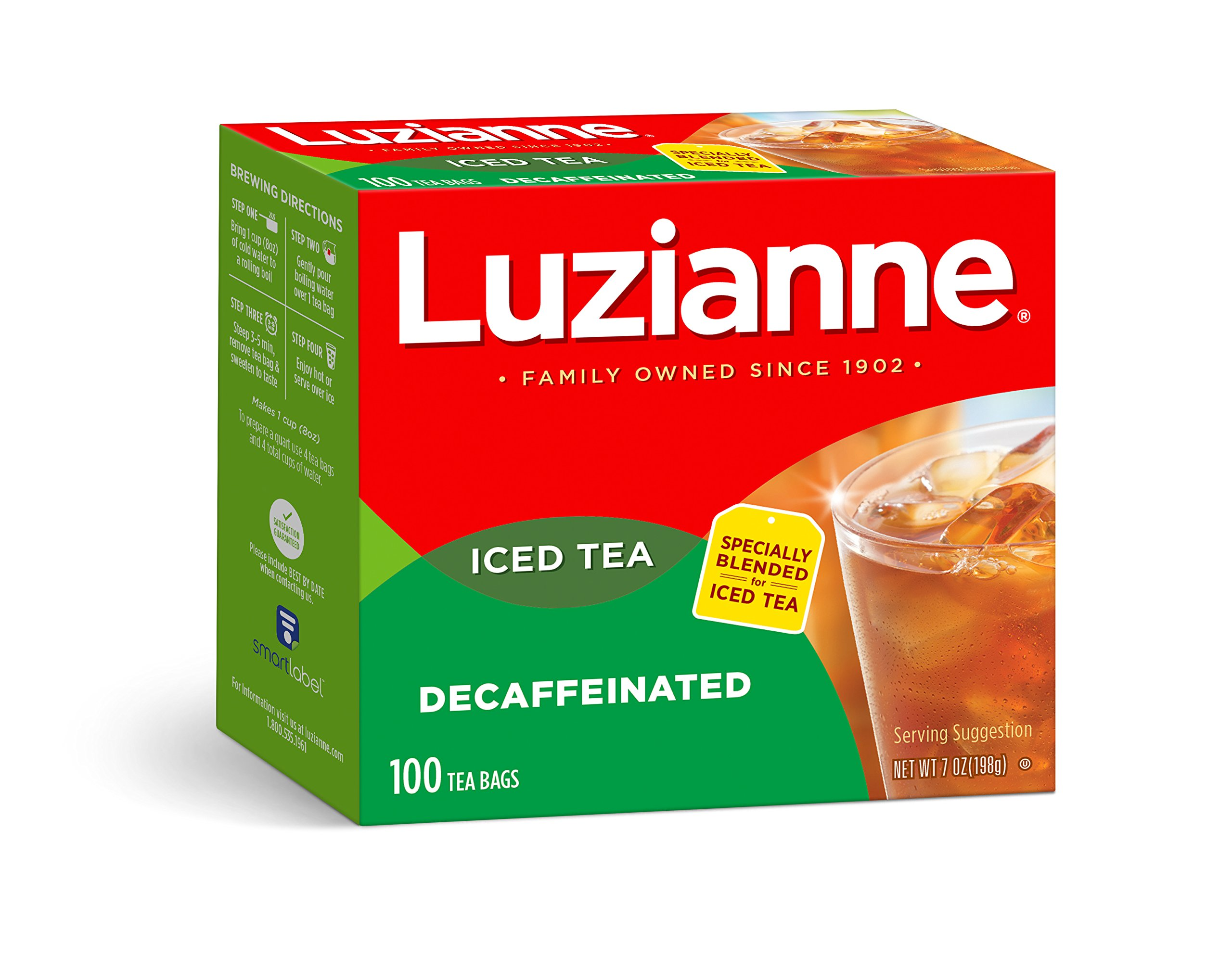 Luzianne Decaffeinated Iced Tea Bags 100 ct. Box (Pack of 4)