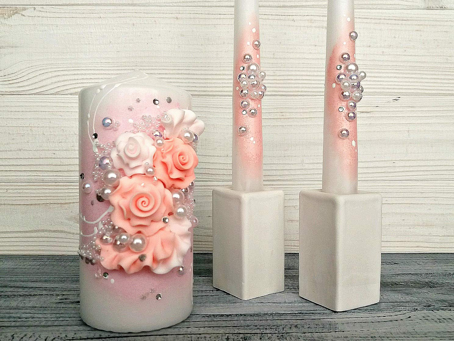 Magik Life Unity Candle Set for Wedding - Wedding décor & Wedding Accessories - Candle Sets - 6 Inch Pillar and 2 10 Inch Tapers - Best Unity Candle- Gold by Magik Life