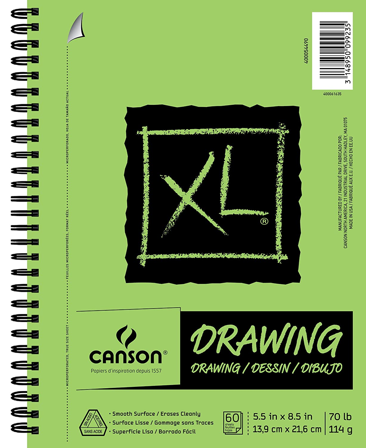 Canson XL Series Drawing Paper Pad, Micro Perforated, Smooth Surface, Side Wire Bound, 70 Pound, 5.5 x 8.5 Inch, 60 Sheets (400054490) Canson Inc