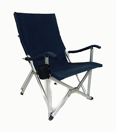 Great World Outdoor Products NEW RUSTPROOF DESIGN Luxury NAVY BLUE Lightweight ALUMINUM  Folding LAWN CHAIR Featuring Washable