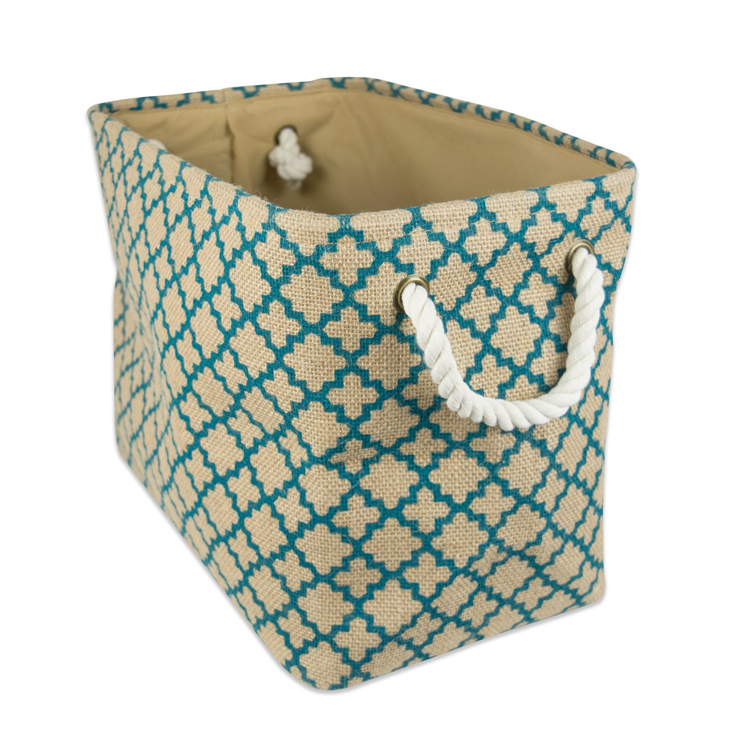 DII CAMZ36635 Collapsible Burlap Storage Basket Or Bin, 14'' x 8'' x 9''/Small, Lattice Teal