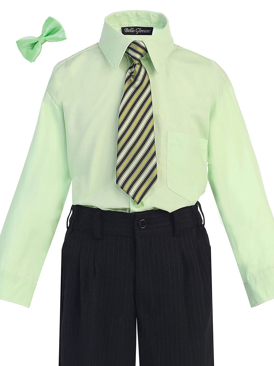 Bello Giovane Boys Dress Shirt with Tie Set (Free Bow Tie)