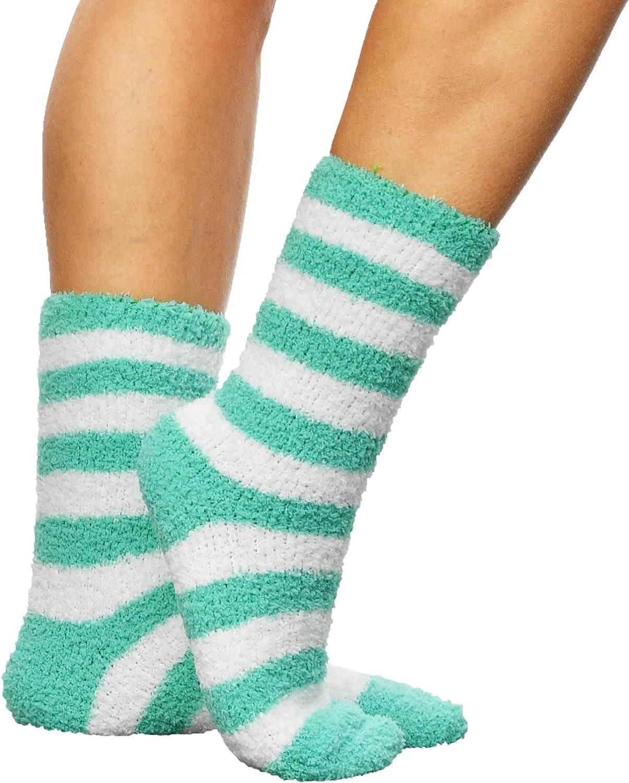 ARAD Premium Soft Warm Microfiber Fuzzy Socks, Striped Aqua
