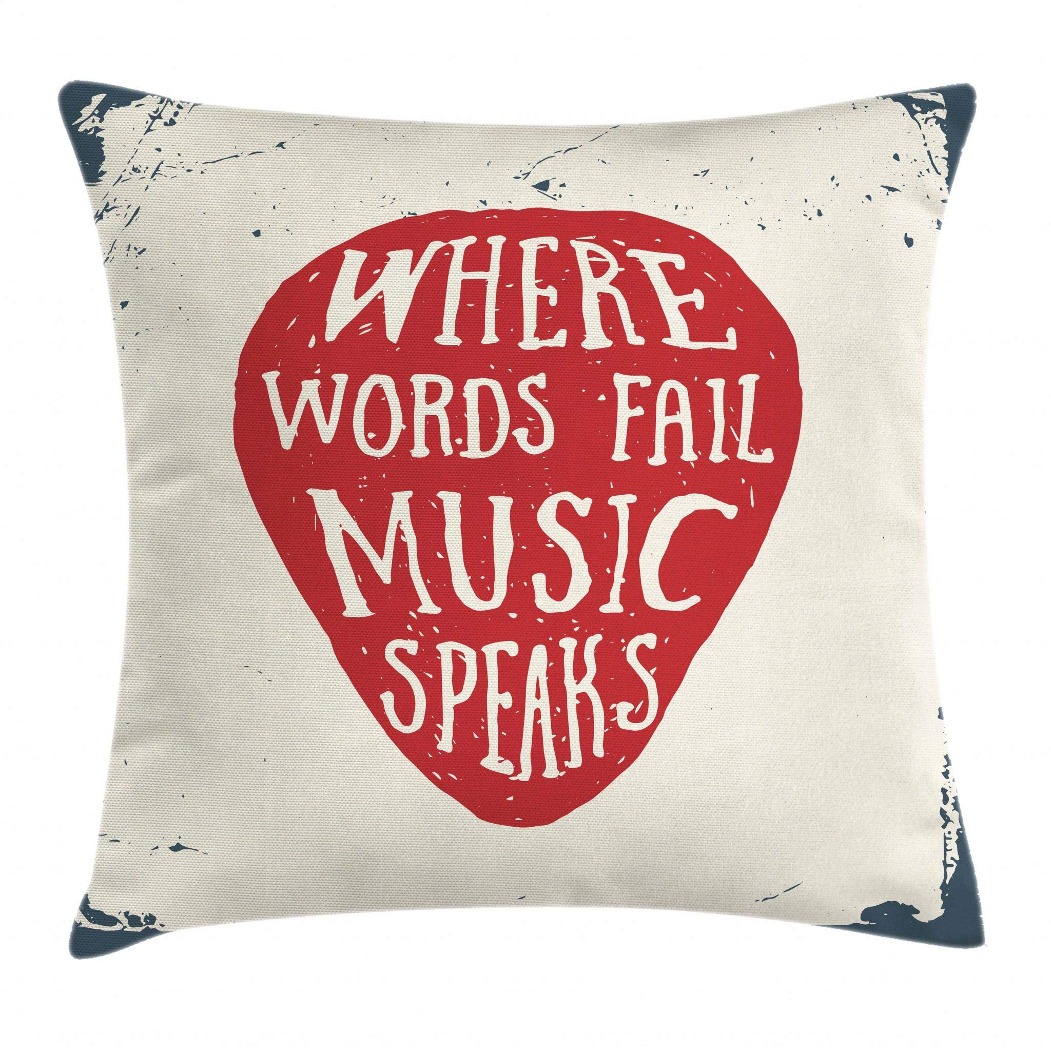 Ambesonne Rock Music Throw Pillow Cushion Cover, Where Words Fail Music Speaks Quote Musical Slogan Hand Drawn Pick, Decorative Square Accent Pillow Case, 18 X 18 Inches, Beige Red Slate Blue