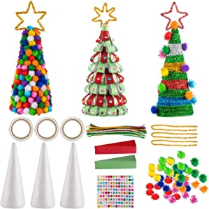 Biubee Set of 3 Mini Glitter DIY Christmas Tree Sets- 7.87 Inch DIY Home 3D Xmas Tree Ornaments Decoration in 3 Kids Christmas Tree Craft Kits for Christmas New Year Home Decor