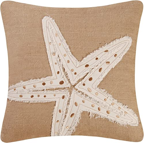 Florida Gifts Burlap Embroidered Starfish Pillow