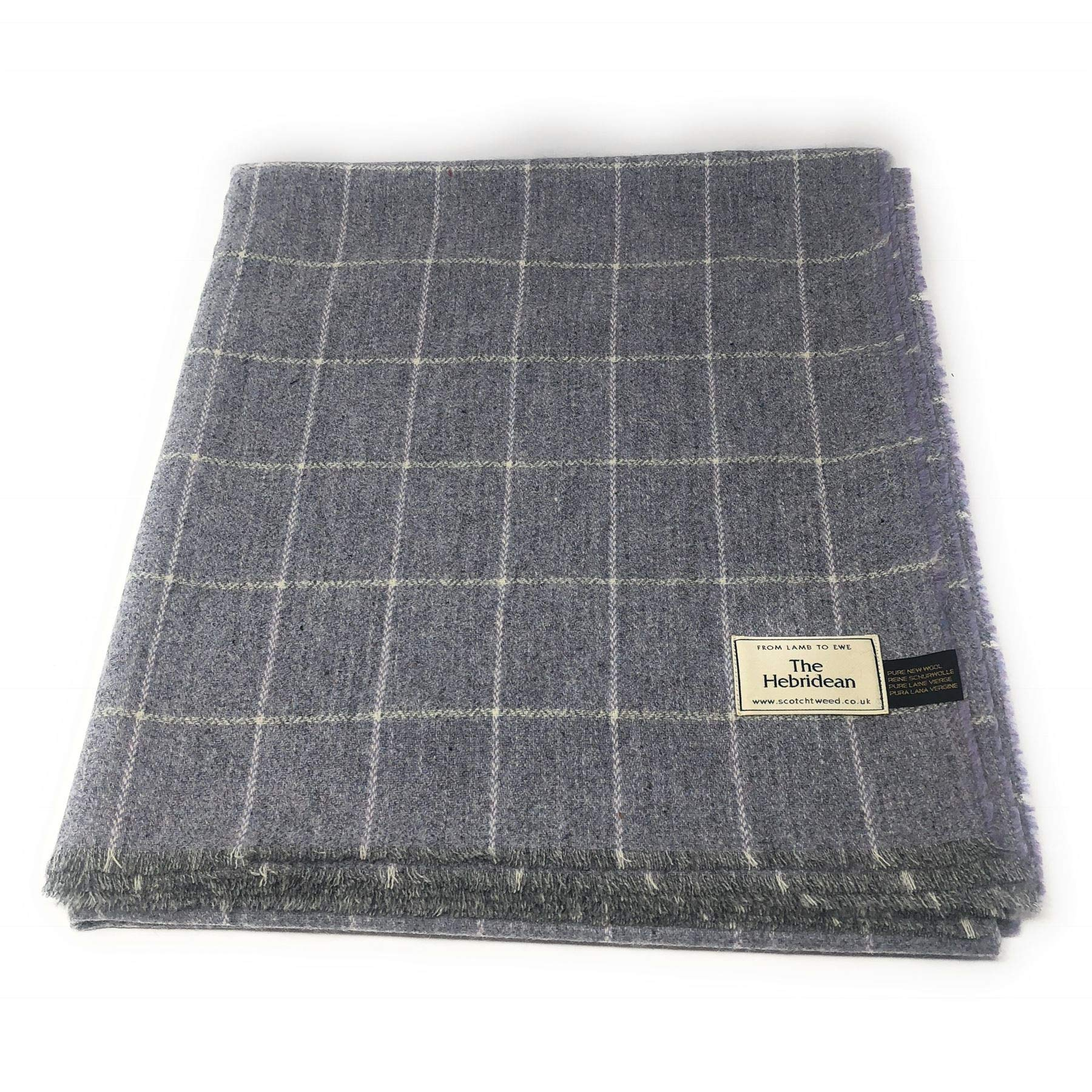 Pure Wool Tweed Blanket/Bedspread/Throw Grey Lilac Windowpane Check
