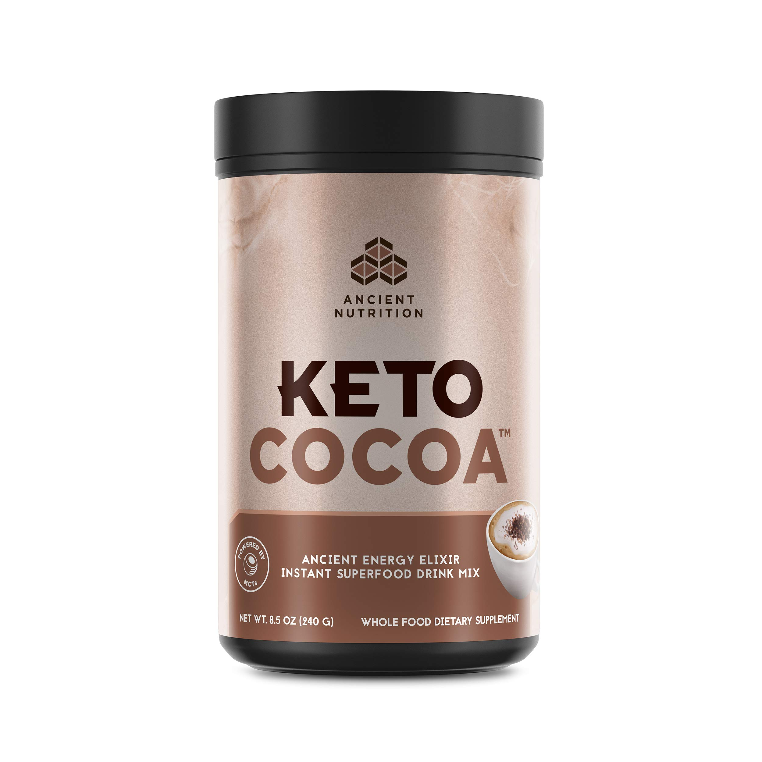 Ancient Nutrition KetoCOCOA Energy Elixir Powder, 20 Servings, Keto Diet Supplement, Hydrolyzed Collagen Peptides, MCTs from Coconut, Organic Cocoa Beans, Energy Booster