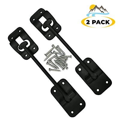 """Camp'N T-Style 6"""" Door Latch-Holder-Catch with Hardware for RV, Trailer, Camper, Motor Home, Cargo Trailer - OEM Replacement (Black 2-Piece): Automotive"""