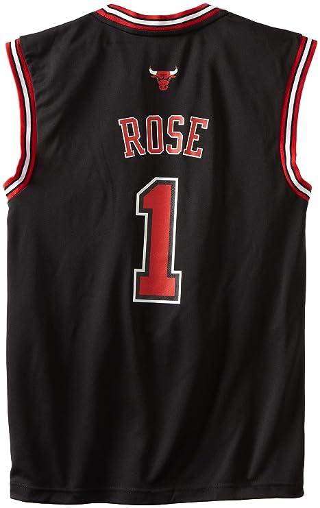Adidas NBA Chicago Bulls Derrick Rose suplente réplica de la Camiseta Negro, Hombre, 7818A3B5AEB1062