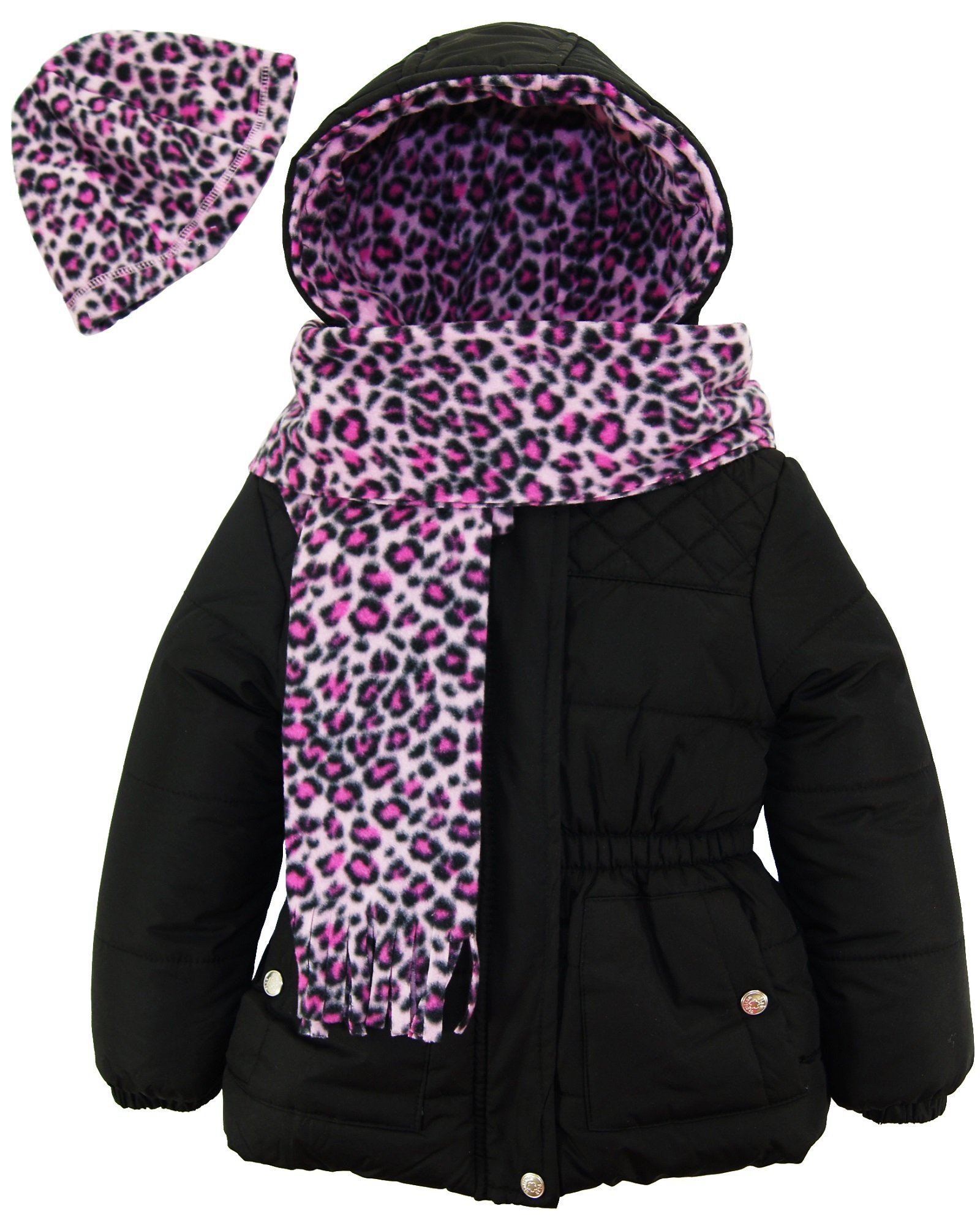 Pink Platinum Toddler Girls' Quilted Puffer with Hat and Scarf, Black, 4T