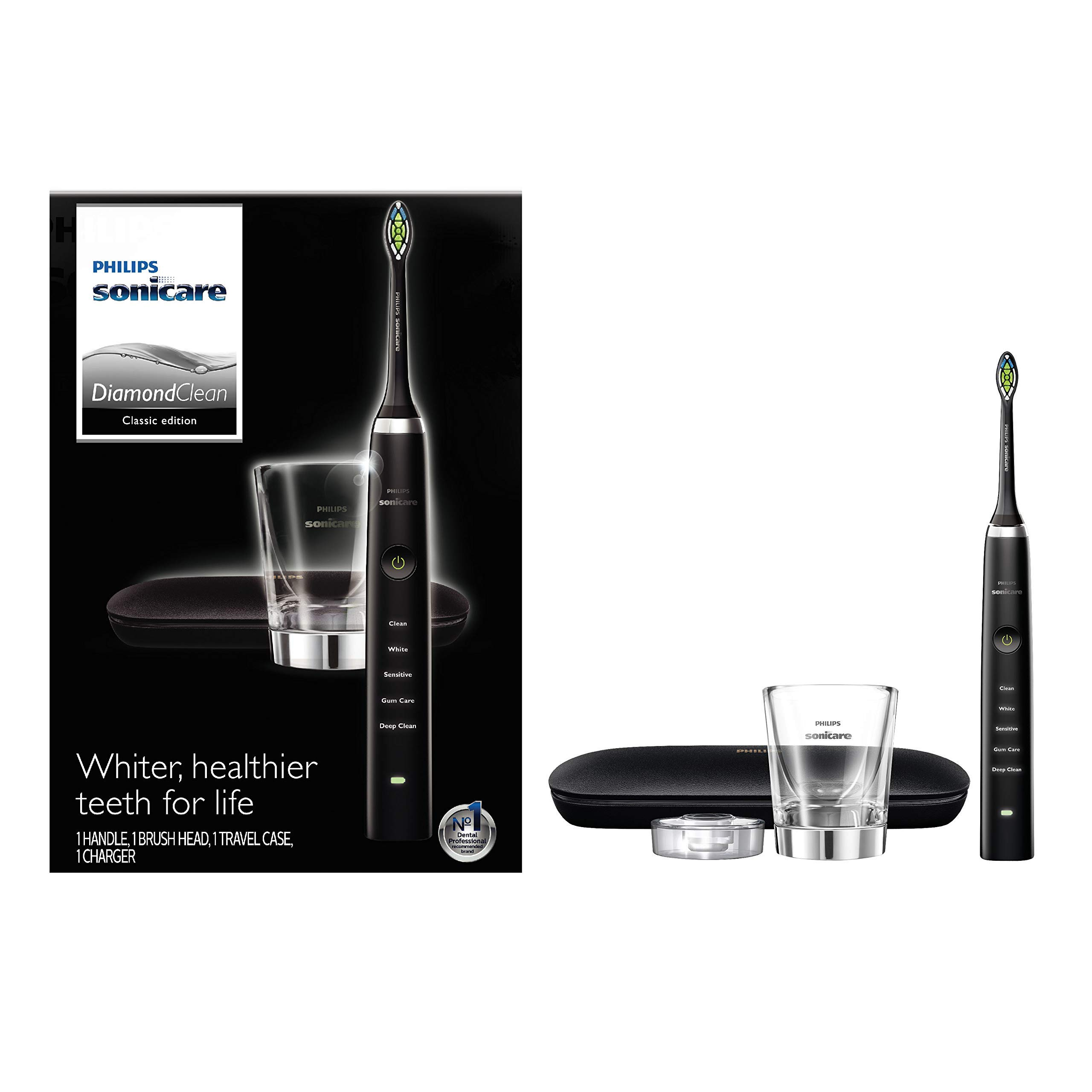 Philips Sonicare Diamond Clean Classic Rechargeable  5 brushing modes, Electric Toothbrush with premium travel case, Black, HX9351/57, 1 Count by Philips Sonicare (Image #3)