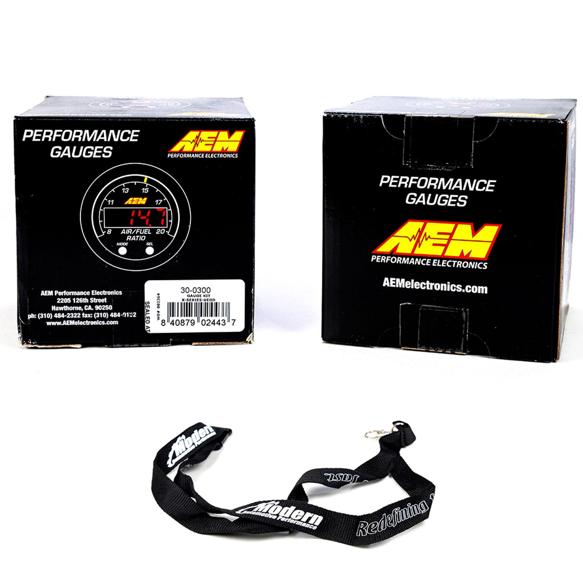 AEM 52mm X-Series Gauge Kit Wideband Air/Fuel UEGO & 8-18 Voltmeter Black w/MAP Lanyard Black