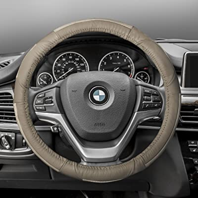 FH Group FH2002SOLIDBEIGE Steering Wheel Cover (Deluxe Full Grain Authentic Leather Solid Beige): Automotive