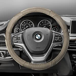 FH Group FH2002SOLIDBEIGE Steering Wheel Cover (Deluxe Full Grain Authentic Leather Solid Beige)