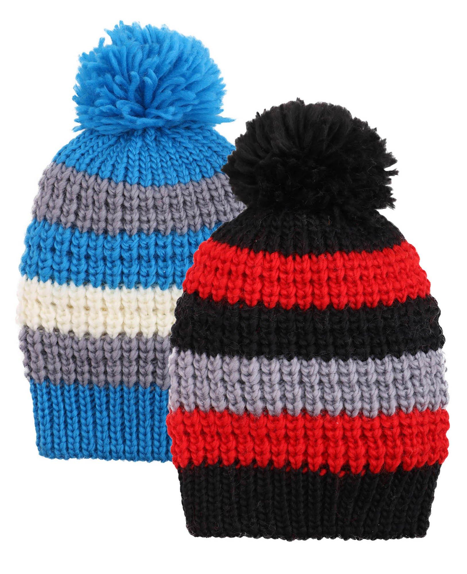 Arctic Paw Kids Winter Beanie 2 Pack Beanie Hat,Blue Stripe/Black Stripe