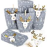 Små julklappar förpackning papperspåsar grå silver vit + julpynt HirsCH ren guld natur för kunder anställda 5 Stück…