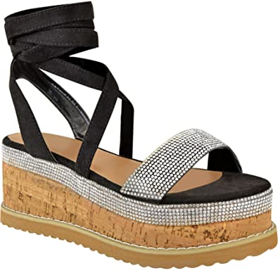 784f394556 Definitely You Ladies Womens Flat Wedge Heel Platform Espadrille Sandals  Diamante Sparkly Lace up Summer Shoes