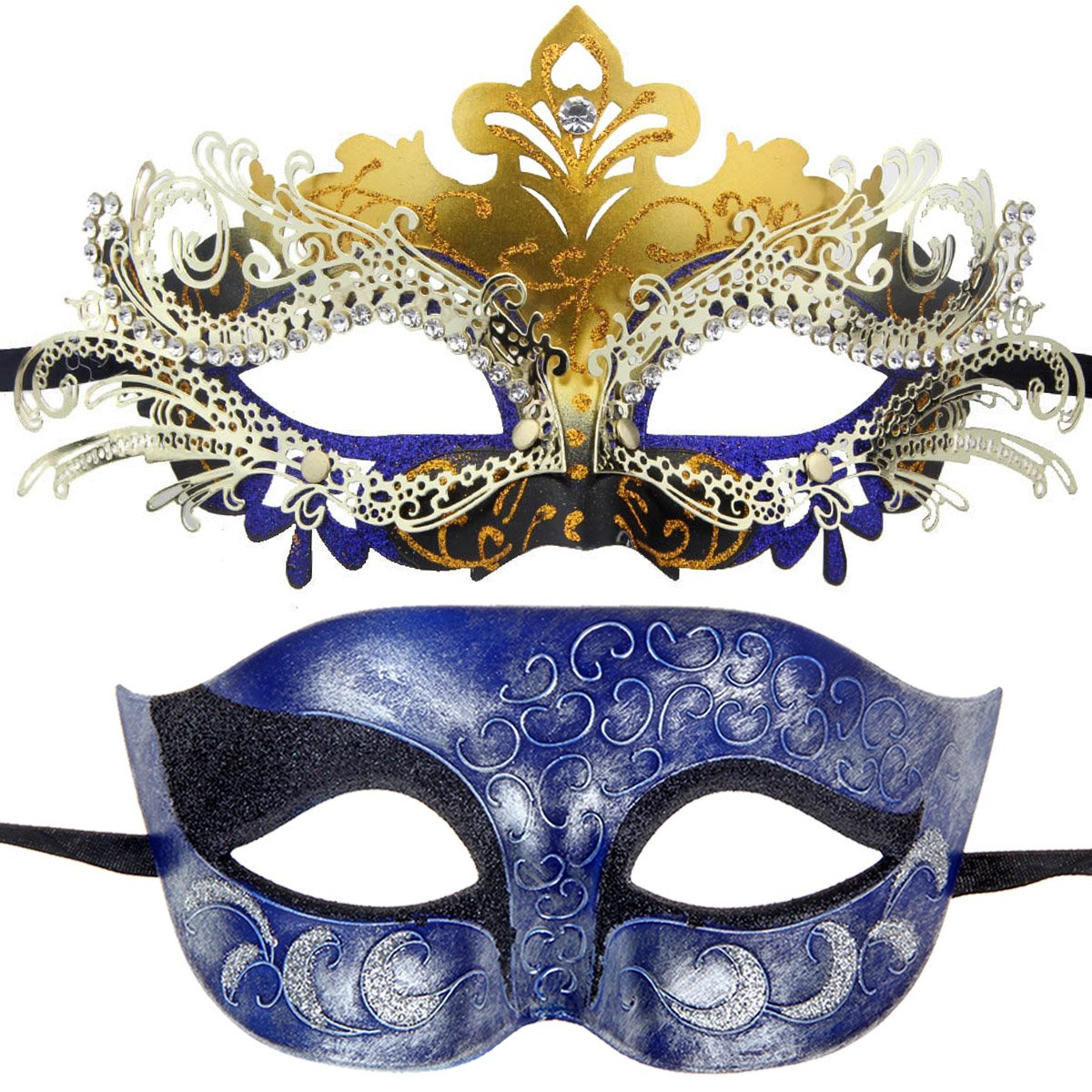One Pair Couples Half Wedding Venetian Masquerades Masks Party Costumes Accessory (Gold&Dark Blue)