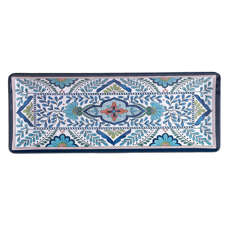 Certified International Talavera Melamine 19 x 8 Rectangular Platter, Multicolor 20294