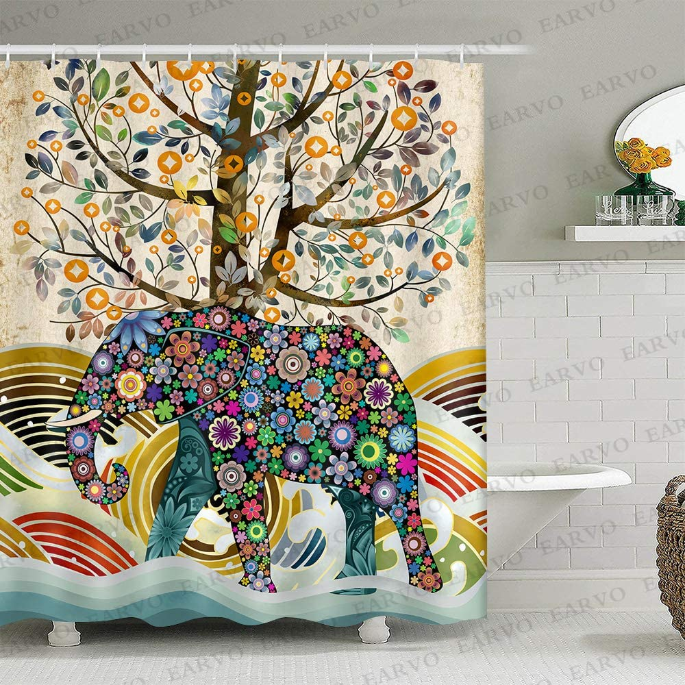 Elephant Floral Shower Curtain Indian Pattern Lush Life Tree Sea Waves Cloth Texture Bohemian Bath Sets with Hooks Waterproof Polyester 72x72 inches Multicolor